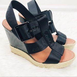 Coach | Maryanne Buckle Canvas Strap Wedge Heels